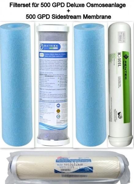 Deluxe Filtersatz für 5-stufige Umkehrosmose Wasserfilter 10Zoll + 500 GPD Sidestream Membrane