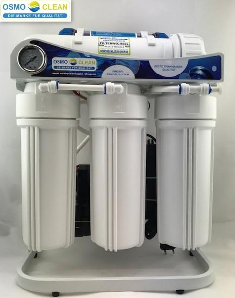 """600 GPD Osmoseanlage 1:2 """"Commercial"""" brushless inkl. Einwege-Wasserhahn / 12 Stunden Laufzeit"""