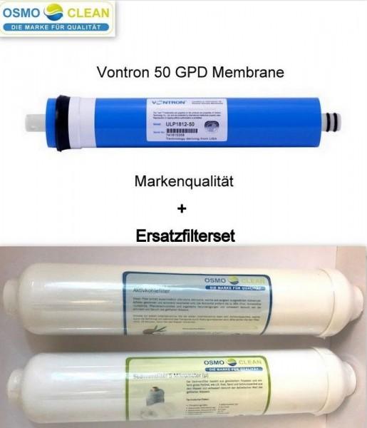 Filtersatz für 3-stufige Umkehrosmose + Vontron Membrane 50 GPD - 190 Liter/Tag