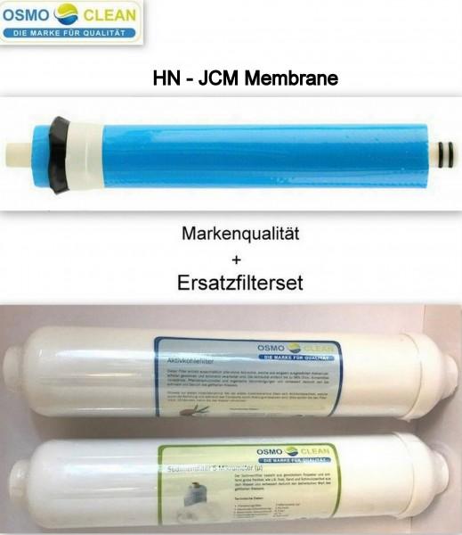 Filtersatz für 3-stufige Umkehrosmose + HN-JCM Membrane 75 GPD - 285 Liter/Tag