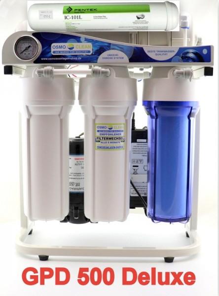 """DELUXE Ausführung! Osmoseanlage """"Titan"""" antibakteriell - 500 GPD/ ca. 1.900 Liter pro Tag mit Wasser"""