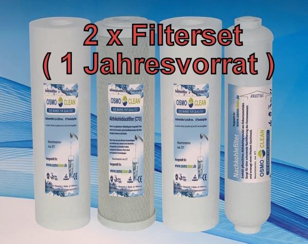 2 x kompletter Filtersatz für 5-stufige Umkehrosmose (z.B. 500 GPD Titan/300 GPD Exklusive) 10 Zoll